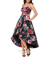 xscape floral high/low cocktail dress, size 14 in multi at nordstrom