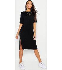 midi t-shirt jurk met split, black