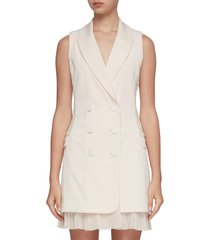 lucy sleeveless lace detail double breasted blazer dress