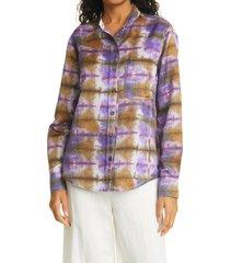 women's raquel allegra tie dye button-up shirt, size 3 - purple