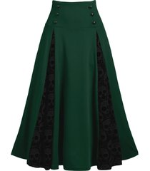 halloween skull lace insert lace-up mock button midi skirt