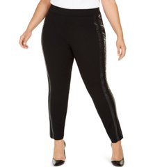 inc plus size faux-leather-trim moto leggings, created for macy's