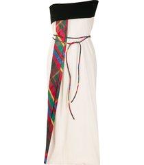 gianfranco ferré pre-owned strapless tie waist dress - neutrals