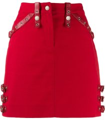 christian dior 2000s pre-owned leather strapped fitted skirt - red