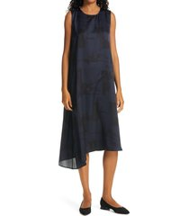 women's eileen fisher asymmetrical silk & organic cotton midi dress