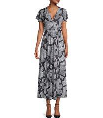 french connection women's remi print midi dress - black grey - size 6