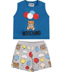 moschino azure and grey babyboy suit with teddy bear and balloons