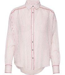 boxy fit allover printed viscose mix shirt långärmad skjorta rosa scotch & soda