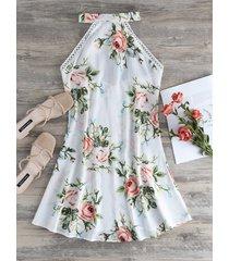 blanco sin espalda diseño halter sin mangas con estampado floral vestido
