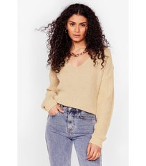 womens 'til v work it out knitted sweater - stone