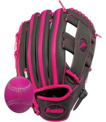 "franklin sports 9.5"" rtp teeball performance glove and ball combo graphite -left handed thrower"