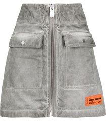 heron preston zip-up logo denim skirt - grey