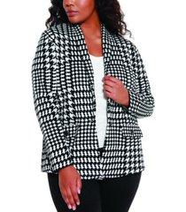belldini black label women's plus size houndstooth sweater blazer
