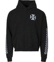 classic checker logo hoodie black