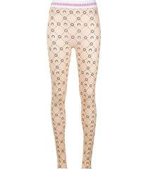 neutral moon print logo waistband leggings
