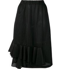 comme des garçons pre-owned frilled mesh skirt - black