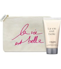 receive a complimentary la vie est belle body lotion & pouch with any $75 lancome purchase