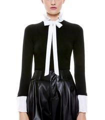 women's alice + olivia cornelia tie neck pullover, size x-large - black