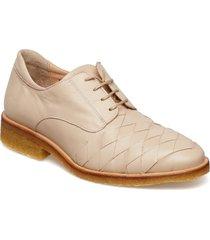 shoes - flat snörade skor låga beige angulus