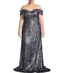 plus off-the-shoulder sequin gown