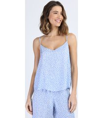 regata de pijama feminina estampada de poá alças finas azul claro