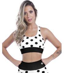 top nadador kaisan sublimado black spotted - branco - feminino - dafiti