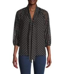 calvin klein women's tie-front top - black blush multi - size s