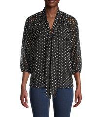 calvin klein women's tie-front top - black blush multi - size m