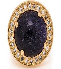 anel kumbayá redondo  semijoia banho de ouro 18k pedra natural estrela e cravaçáo de zircônias - tricae