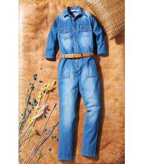 tuta in jeans elasticizzato con maniche a 3/4 (blu) - john baner jeanswear