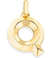 alphabet pendant q, gold vermeil on silver