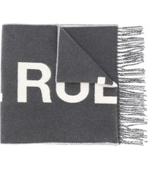 a.p.c. logo embroidered oversized scarf - grey