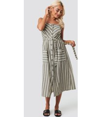 trendyol button linen midi dress - grey