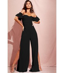 bardot gathered sleeve wide leg jumpsuit, black