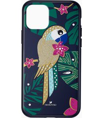 custodia per smartphone con bordi protettivi tropical parrot, iphoneâ® 11 pro, multicolore scuro