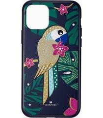 custodia per smartphone con bordi protettivi tropical parrot, iphoneâ® 11 pro, multicolore scuro