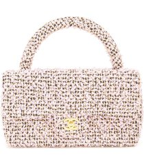 chanel pre-owned 1991-1994 cc tweed tote bag - pink