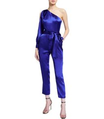 aidan by aidan mattox liquid satin one-shoulder jumpsuit