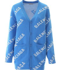 blue and ivory over-sized wool logo cardigan