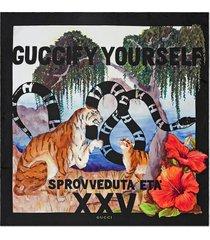 """gucci multicoloured """"guccify yourself"""" print silk scarf - black"""