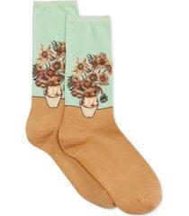 hot sox women's sunflower artist series fashion crew socks