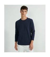 camiseta slim manga longa canelada | request | azul | gg