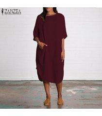 zanzea algodón de las mujeres de cuello redondo batwing camisa de vestido asimétrico midi vestido más del tamaño -rojo