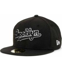 new era brooklyn dodgers black and white fashion 59fifty cap