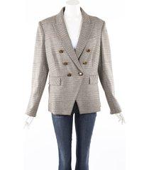 veronica beard miller dickey houndstooth brown blazer jacket cream/brown sz: xl