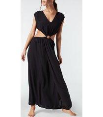 calzedonia cut out maxi dress woman black size l