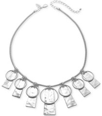 "style & co circle & hammered rectangle 35"" pendant necklace, created for macy's"