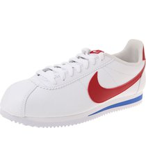 tenis lifestyle blanco-rojo-azul nike classic cortez leather