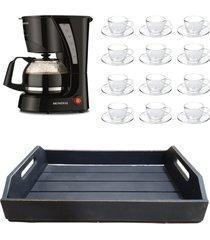 kit 1 cafeteira mondial 110v, 12 xícaras 240ml com pires e 1 bandeja mdf preto - tricae
