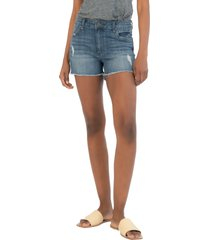 kut from the kloth gigi distressed high waist denim shorts, size 18 in flow at nordstrom